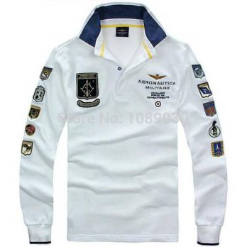 [globalbuy] RETAIL AERONAUTICA MILITARE Air Force One Male T-shirt Embroidery Mens Wear Lo/4215124