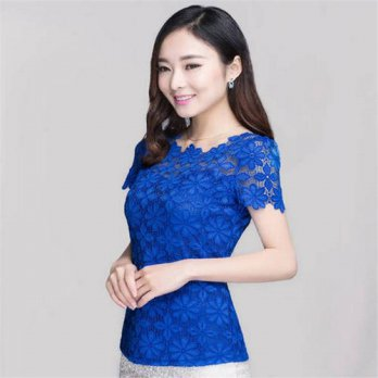 [globalbuy] 2017 New Short Sleeve Tee Shirt Tops For Women Clothing Lace T shirt Sexy Flor/4221735