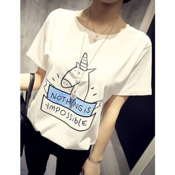 [globalbuy] Fashion Harajuku Loose Tees Plus Size Summer Short Sleeve O-neck Tops Unicorn /4221726
