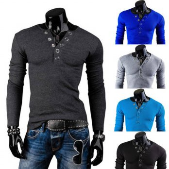 [globalbuy] New 2014 Spring Deep V neck Ring Prong Buttons Decor Fashion Mens Shirts Casua/4215166