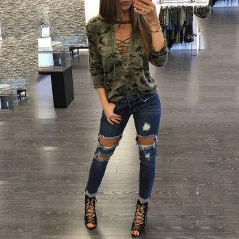 [globalbuy] Summer Autumn Fashion Long Sleeve Casual LaceUp Camouflage T-Shirt For Women S/4221764