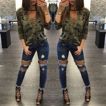 [globalbuy] Fashion Spring t shirt women sexy casual bandage camouflage long sleeve t shir/4221757
