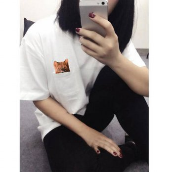 [globalbuy] H478 T shirts Fashion 2016 Modern Style Pocket T Shirts Fox Print Short Sleeve/4221753