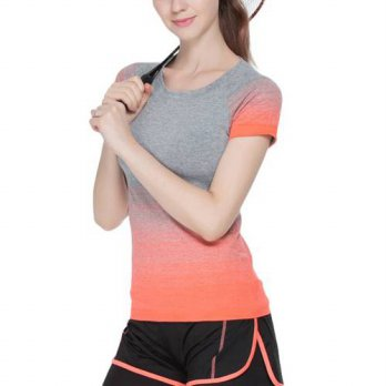 [globalbuy] Compression Tights Short Sleeve T-shirts Clothes Tees Women Fitness Casual Top/4221751