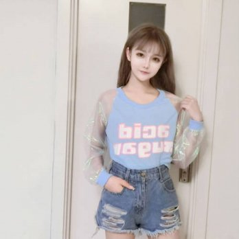 [globalbuy] Fashion Mori Girl Long Sleeve Pathcwork T Shirt Women Japanese Korean Crop Top/4221744