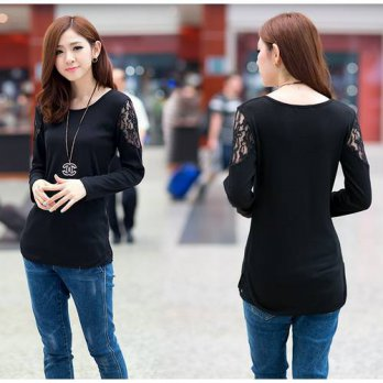 [globalbuy] 2016 Autumn Winter Fashion Lace Splicing Long Sleeve T Shirt Women Large Size /4221707