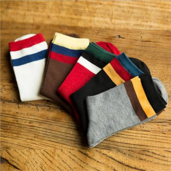 [globalbuy] 5 Pair new fashion men cotton socks casual men socks solid color winter thick /4213357