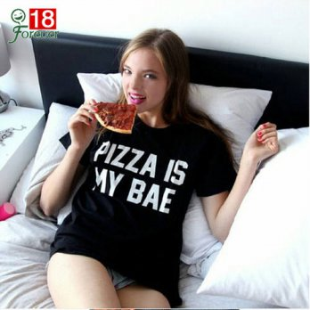 [globalbuy] Hign Quality Fashion 2016 Summer Tops PIZZA IS MY BAE T Shirt Women Short Slee/4221644