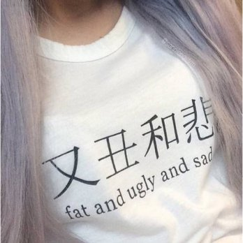 [globalbuy] cotton casual women tshirt summer fat and ugly and sad japanese chinese letter/4221625