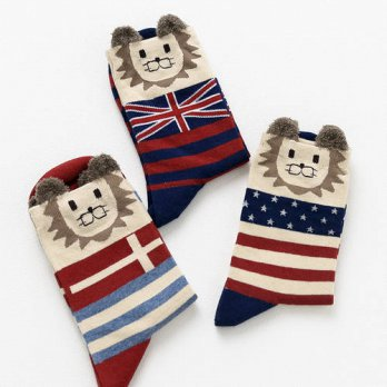[globalbuy] The new autumn and winter socks Cartoon lion flag cotton striped socks/4213318
