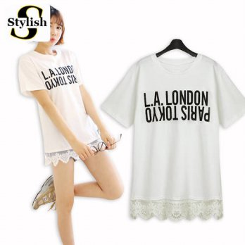 [globalbuy] Korean Style 2016 New Summer Women Tops Tees Short Sleeve Letters Printed T-sh/4221616