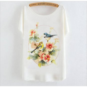[globalbuy] 2015 summer style female T-shirts for women tops Birds Floral Print Tee shirt /4221602