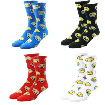 [globalbuy] Italy Mens emoji smile Socks Cartoon Smile White Hip Hop Socks Men Red Black B/4213287