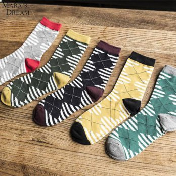 [globalbuy] Maras Dream 10 pairs/lot Men Emoji Japan style Long Socks Diamond Lattice Cott/4213282