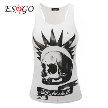 [globalbuy] misfit skull Top Tee Sleeveless t-shirts 2016 new/4221556