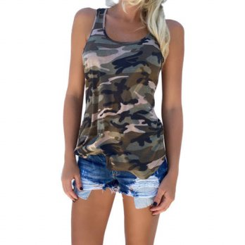 [globalbuy] New 2016 Summer Shirt Women tshirts Camouflage Halter Crop Tops Sexy Sleeveles/4221657