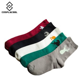 [globalbuy]  New horse pattern simple classic business cartoon men socks in tube meias mas/4213339