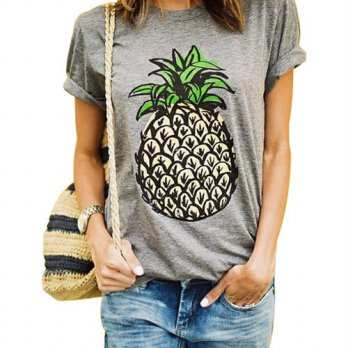 [globalbuy] Fashion Summer Pineapple T Shirts Pineapple Print Women T-shirt Casual O-neck /4221599