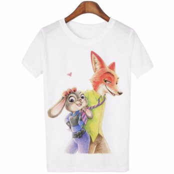 [globalbuy] New 2016 Fashion summer College wind short-sleeve t-shirt female cartoon print/4221574