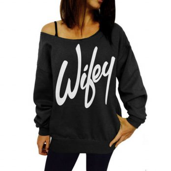 [globalbuy] Fashion Women Ladies Print Wifey Casual Long Sleeve Crewneck Loose Sexy T Shir/4221511