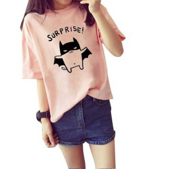 [globalbuy] Womens Summer T-Shirt Lovely Bat Printed Short Sleeve Tops/4221494