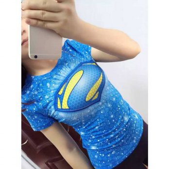 [globalbuy] Women Superhero Dry Quick Breathable T Shirts Fitness Hero Exercise T-shirts T/4221470