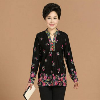 [globalbuy] Brand new 2015 Casual V-Neck Long Sleeve Floral Print t Shirt Middle-aged Lady/4221453