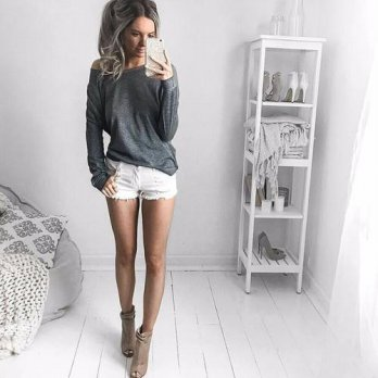 [globalbuy] Long Sleeve T-shirt Women Cotton Tops Gray Loose T-shirts Ladies 2016 Sexy Tee/4221450