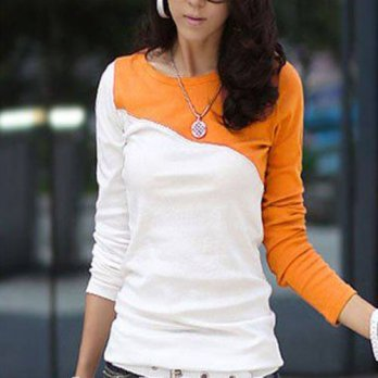 [globalbuy] Womens Fashion T-shirts Tee Shirt Femme Tops Long Sleeve T-shirt O-Neck Orange/4221442