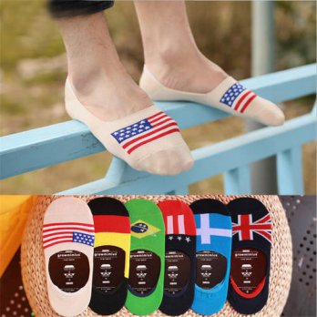 [globalbuy] Brand New mens socks invisible 12 pair/lot Flag Socks Classic Male Cotton Invi/4213239