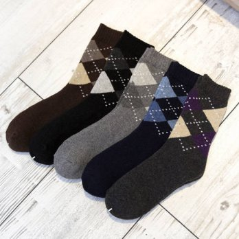 [globalbuy] 10Pairs/Lot Male rabbit wool socks cotton New Winter Classic Argyle wool socks/4213236
