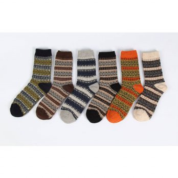 [globalbuy] 2 Pairs Retro Style Imitation Wool Winter Men Sock/4213233