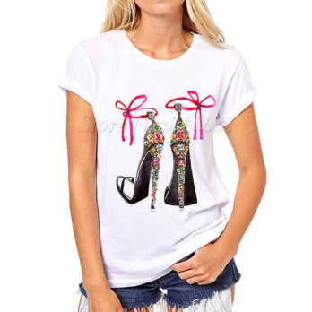 [globalbuy] New Summer T shirt high hell Shoes printed Top Tees Women Shirts vintage Short/4221527