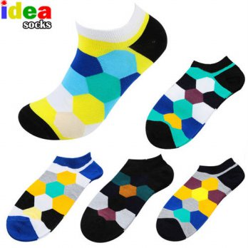 [globalbuy] 5 Pairs/lot=10 Pieces Summer Autumn Colorful Men&Women Boat Socks Bright Hexag/4213222