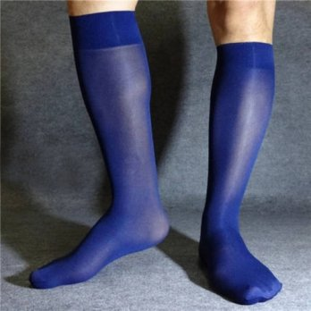 [globalbuy] New elastic high-quality dark blue mens socks in tube length stockings sexy so/4213210