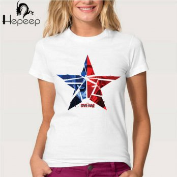 [globalbuy] Track Ship + New Vintage Retro Rock&Roll Punk womens T-shirt Top Tee Captain A/4221474
