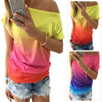[globalbuy] 2016 Fashional Multicolors Summer Style Tees Tops NonelasticT-Shirt Casual Sco/4221465