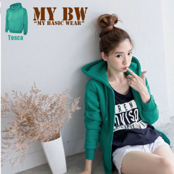 HoOdie Jacket with Ziper plain colour Tosca