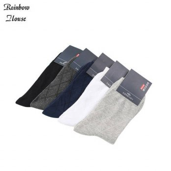 [globalbuy] New 2017 Fashion Mens Socks Rhombus Business Sock For Man Casual Dotted Line D/4213137