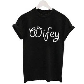 [globalbuy] Wifey Letter 2016 Fashion Black And White T-Shirt Women Tops Graphic Print Tee/4221397