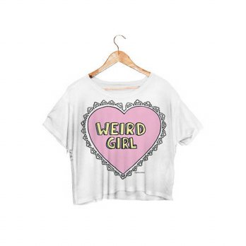 [globalbuy] 2016 Hot Sale Style Weird Girl Crop Tops White Color Women T Shirt Fashion Tee/4221377