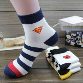 [globalbuy] New Arrival mens socks 4 pairs/lot autumn-winter Cotton Superman Socks Classic/4213078