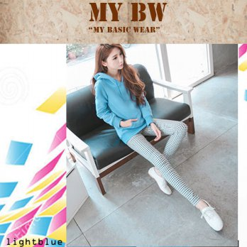 Hoodie Jacket with Ziper plain colour Light Blue