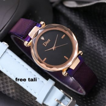 Jam Tangan Wanita Murah Dior Magnet Pasir dm03 Purple + Leather Blue