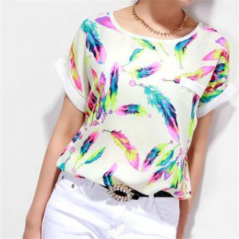 [globalbuy] Hot Marketing Large Size Popular 1PC Women Feathers Chiffon Top Casual Short S/4221330