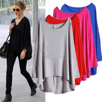 [globalbuy] 2016 New Autumn Batwing long Sleeve Women T Shirts Casual Loose Ladies Tops Ro/4221329