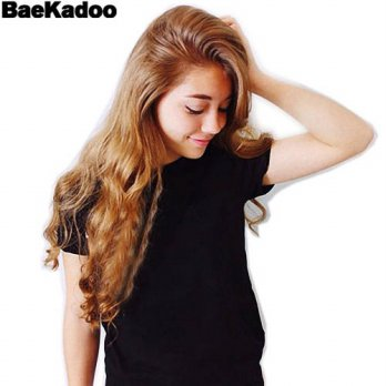 [globalbuy] BAEKADOO Fashion Cotton Women T-shirt Tops Harajuku UFO Print Tee Black Short /4221371