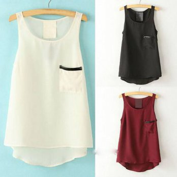 [globalbuy] 2016 Summer New T-Shirt Tops Round Neck Sleeveless Asymmetrical Shirt Womens T/4221365