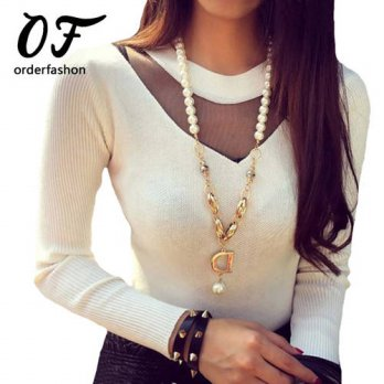 [globalbuy] Women Tops Knitted T-Shirt Femme O-Neck Long Sleeve Hollow Out Sexy T Shirts W/4221364