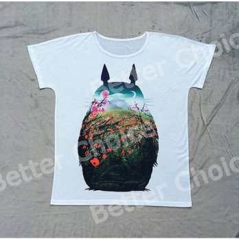 [globalbuy] Track Ship+New Vintage Retro T-shirt Top Tee Cute Fatty Noir Totoro Studio Gra/4221349